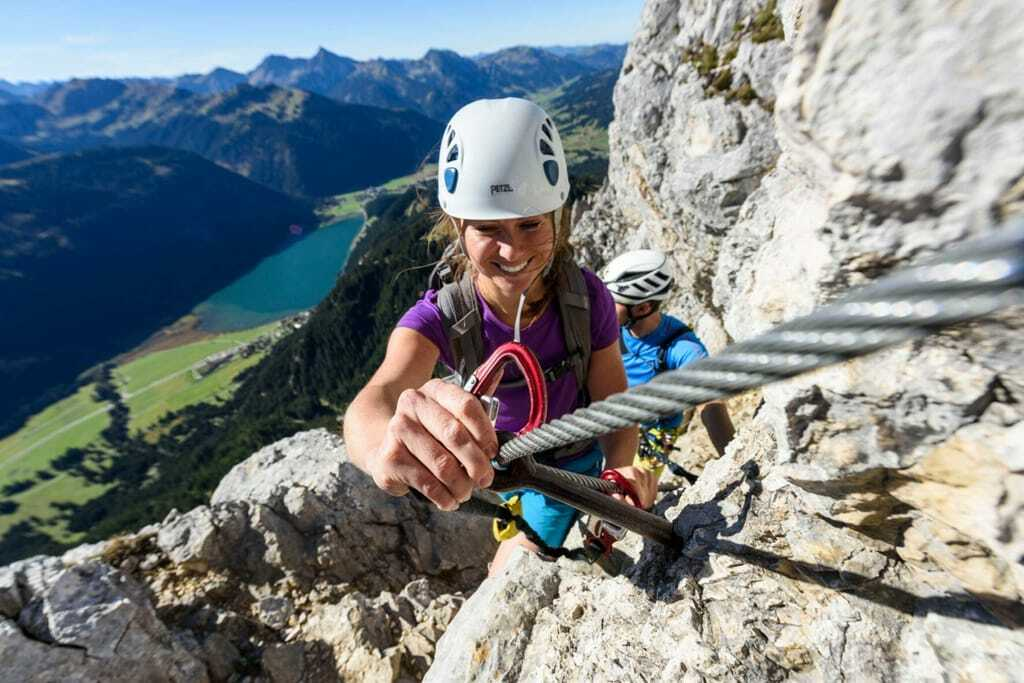 Klettern in den Alpen im Tannheimer Tal