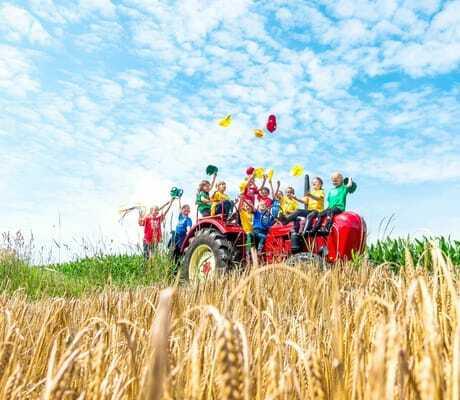 Kinder auf rotem Traktor in einem Weizenfeld_Ulrichshof_Rimbach