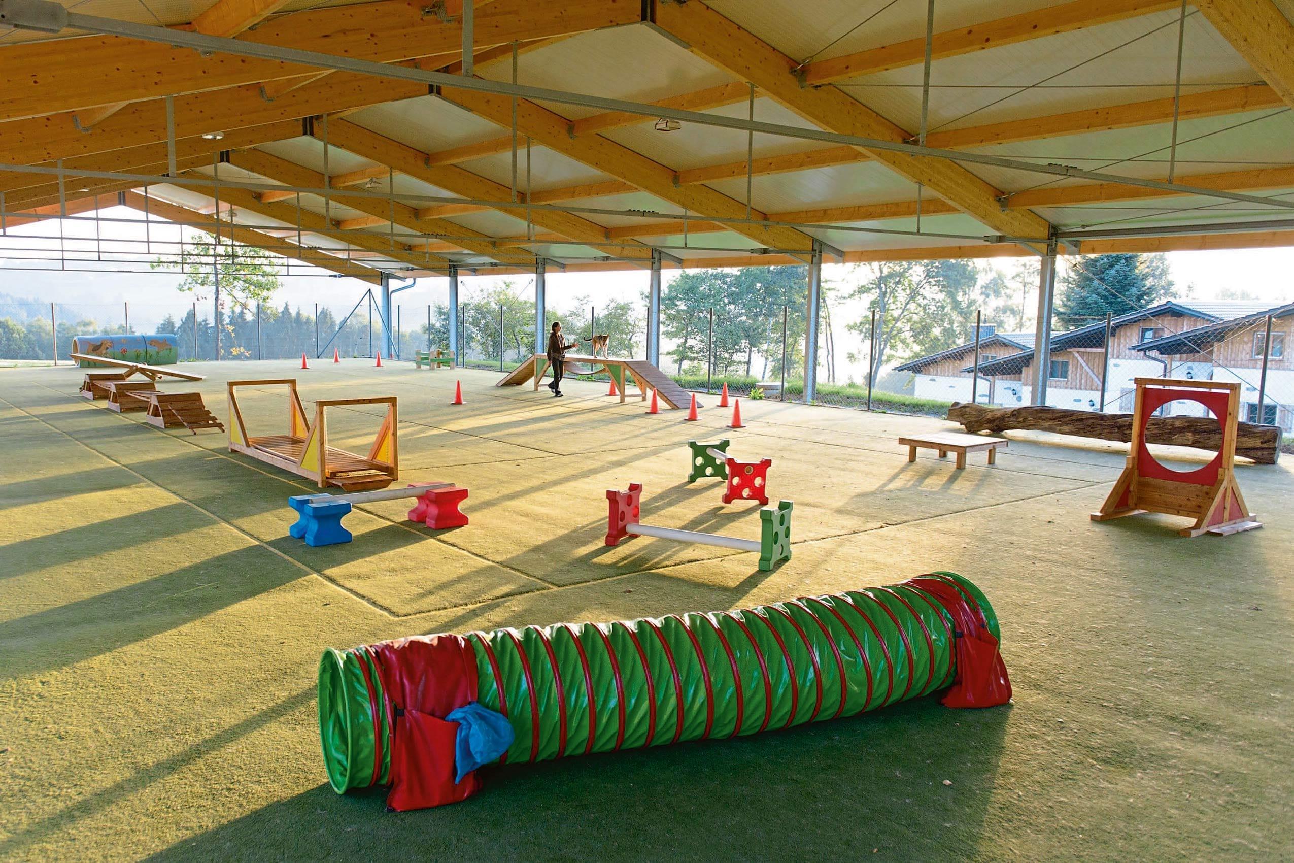 Das Gutshotel Feuerschwendt verfügt über einen großen, überdachten Hundetrainingsplatz, auf dem sich die Vierbeiner austoben können und auf dem regelmäßig Kurse stattfinden.