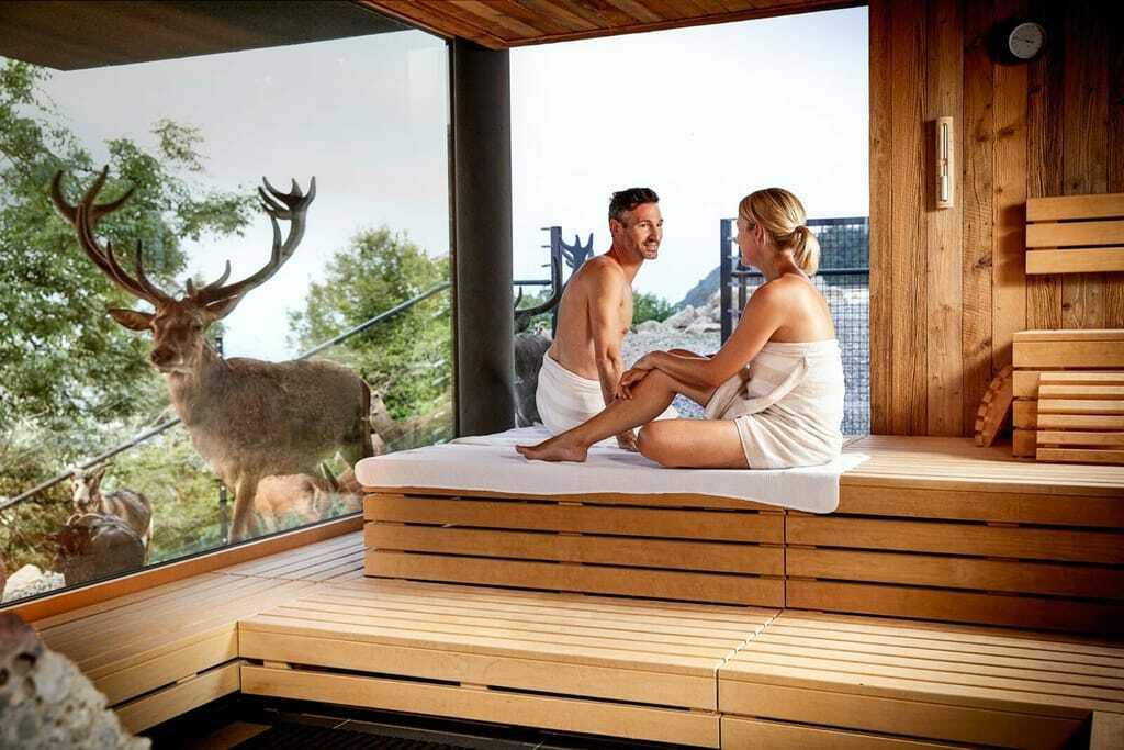 Sauna mit Aussicht auf ein Hirschgehege