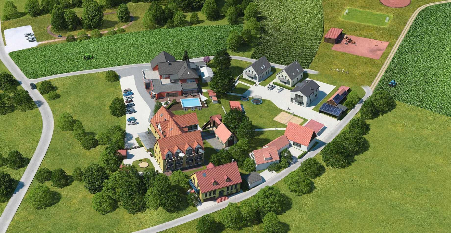 Blick von oben auf die Häuser_FamilienhotelFriedrichshof_Obertrubach