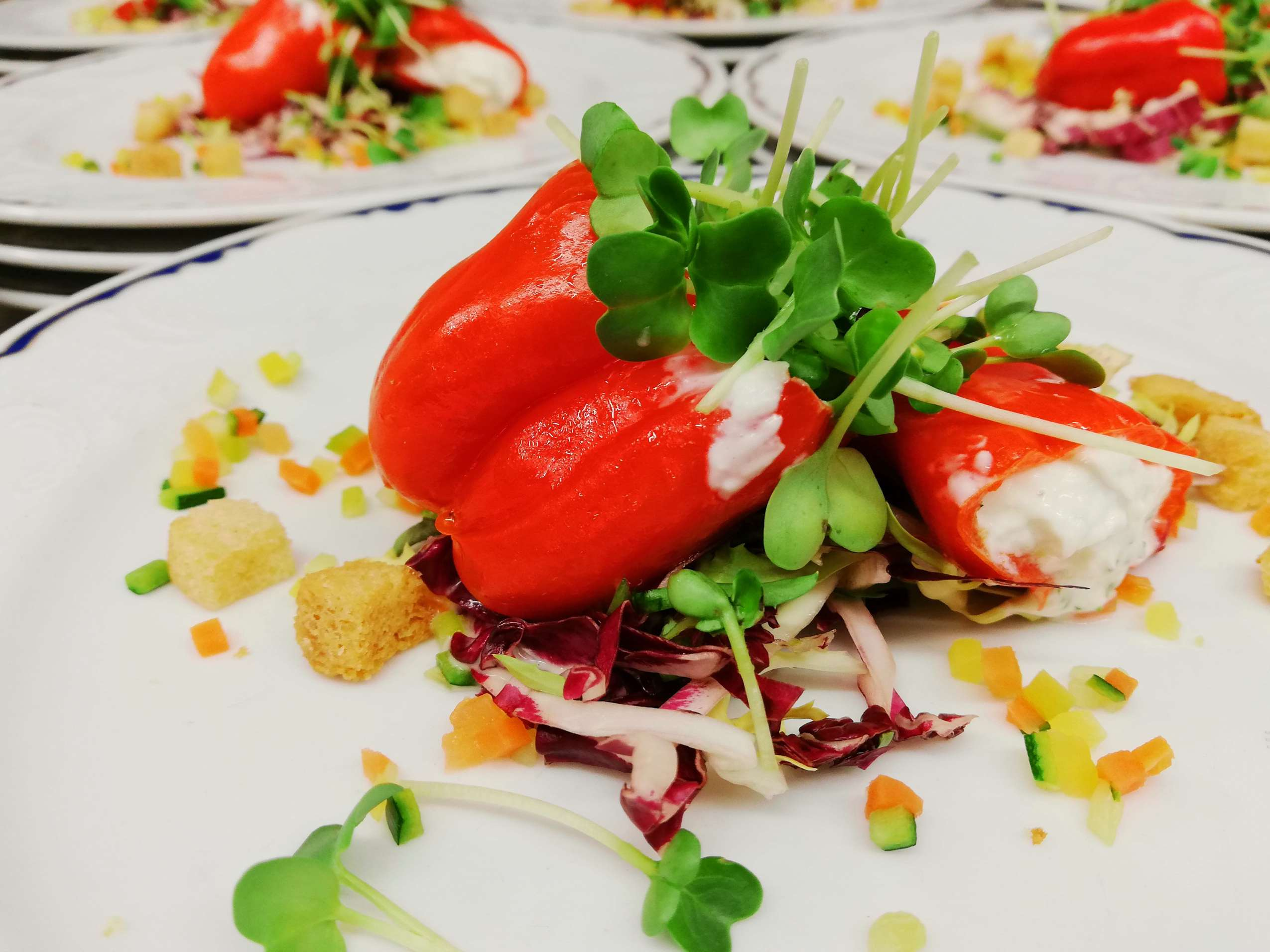 Gefüllte Paprika mit Salat und Croûtons.
